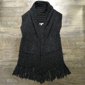 Cabi 163 Sweater Cardigan Long Open Front Fringe M